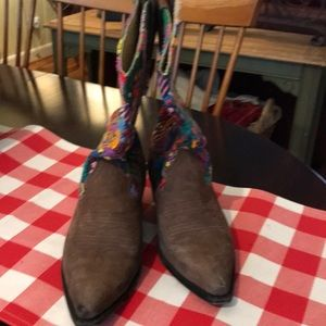 Shoes - Mid calf boots suede toes. Size 8 1/2.
